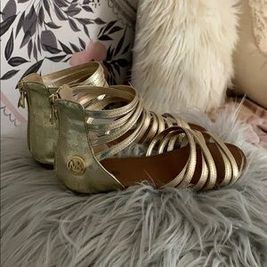 Michael Kors Aaliyah gold zip-back sandals